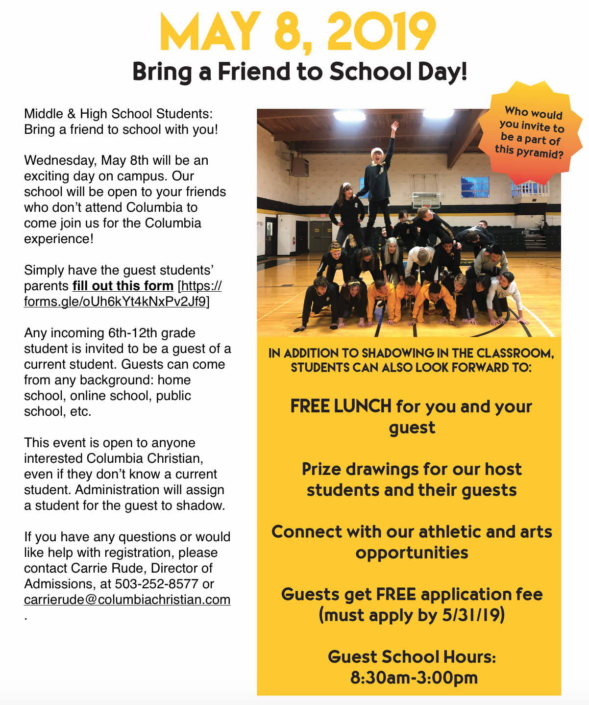 1facc444f676 Middle school and high school students are encouraged to invite a guest to  participate. Click on the flyer below to go to the registration page or  click ...